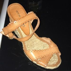 Tan Summer Leather Espadrille Wedge